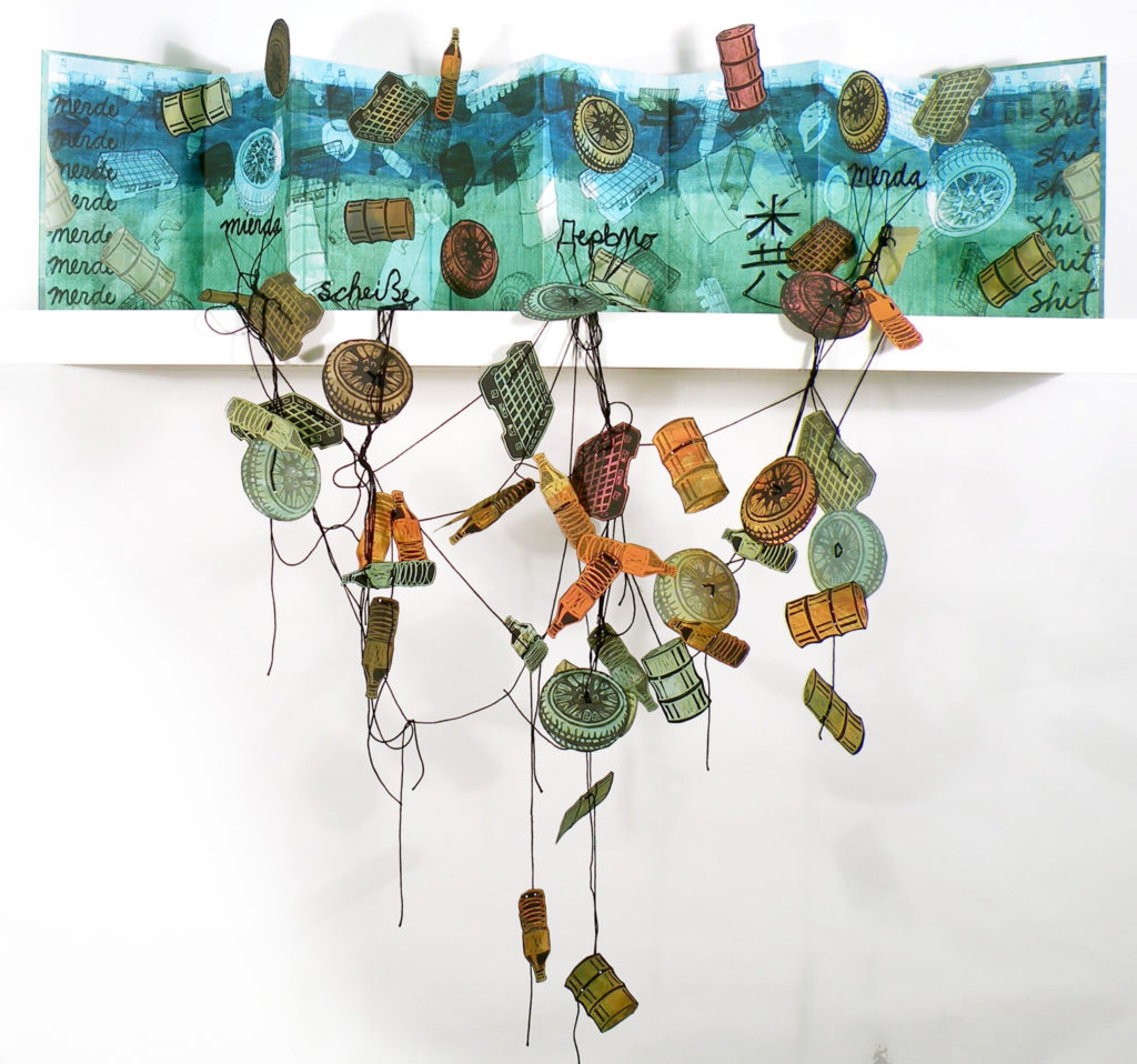 Merde Sur la Mer (artist's book), mixed media on paper and board