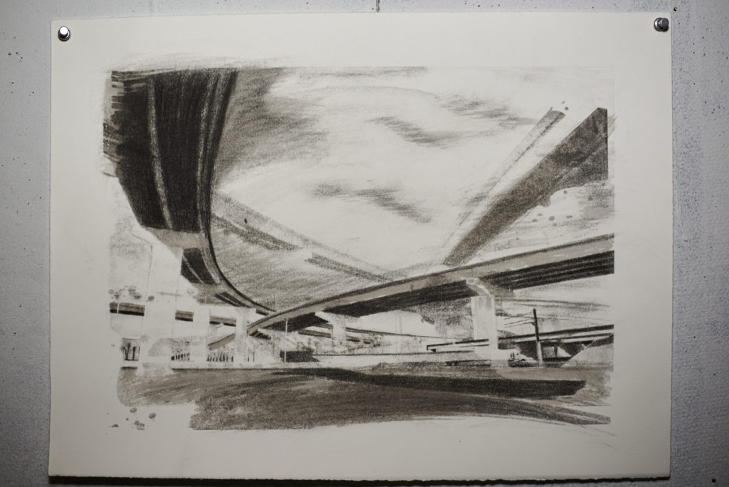 Economy of Scale, charcoal and image transfer on paper collaboration work with Lee Lines