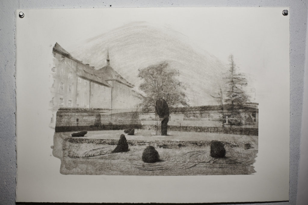 Confluence, charcoal and image transfer on paper collaboration work with Lee Lines