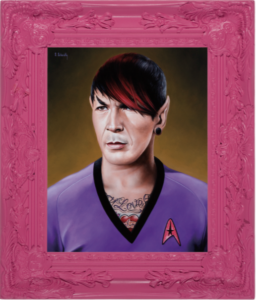Emo Spock, acrylic on Masonite, framed