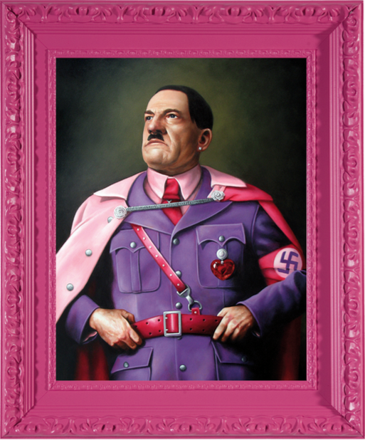 Hitler, acrylic on Masonite, framed