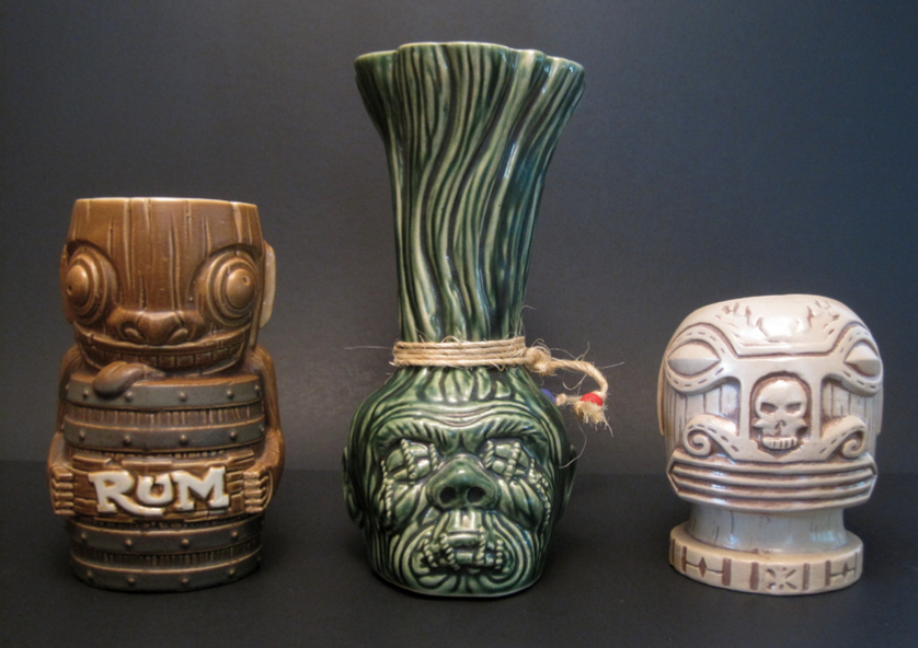 Tiki mugs, design by Scott Sheidly, fabricated by Tiki Farm, San Clemente, Ca.