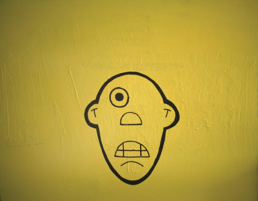 face, acrylic on wood