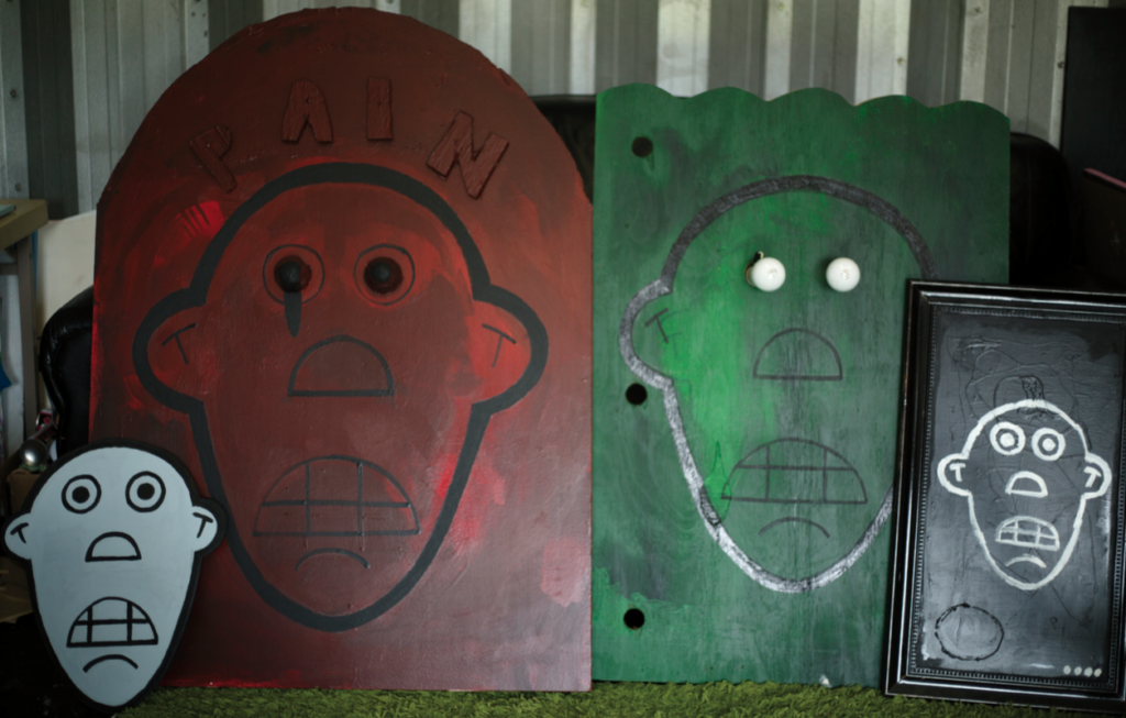 from left to right: Here and Now, Pain, This is It, Emotional 4, acrylic on wood