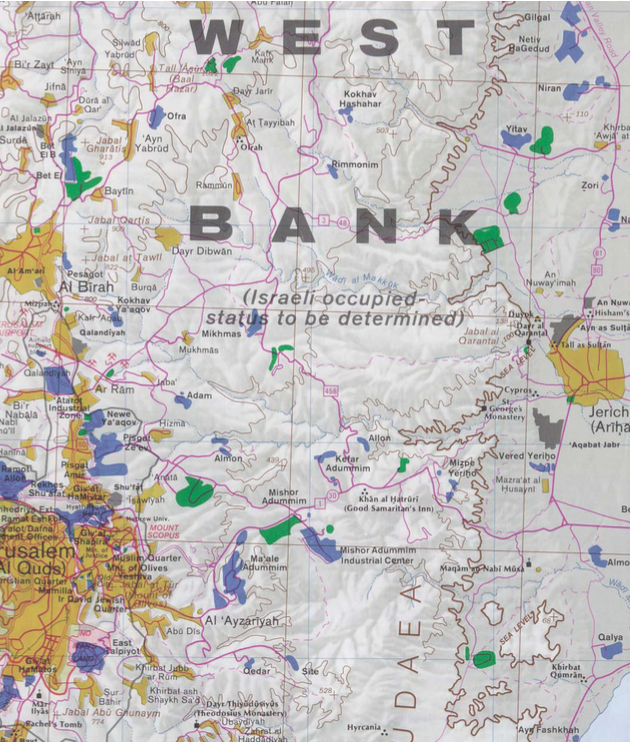 West bank map. Image Courtesy of the CIA